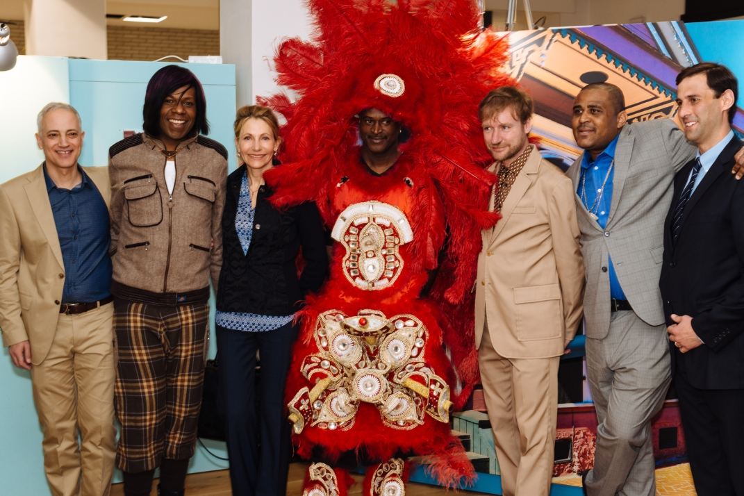 Clemens Gubernath (Curator), Big Freedia, Kimberly Emerson (US Embassy), Mardi Gras Indian Chief Shaka Zulu, Tim Renner (Undersecretary for Culture Berlin), Glen David Andrews, Daniel Hammer (Historic New Orleans Collection)